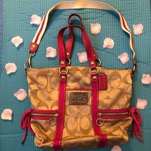 Coach Poppy Pink Tote 2way bag